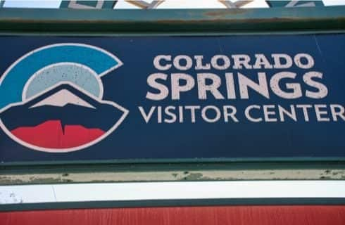 Welcome sign for the Colorado Springs Visitor Center