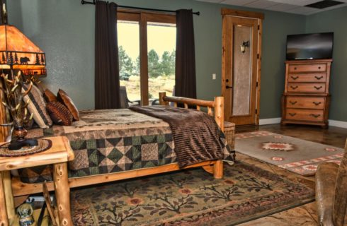Large suite with knotty pine furniture, antler lamps, armchair, flatscreen TV, and large window with view to the outside