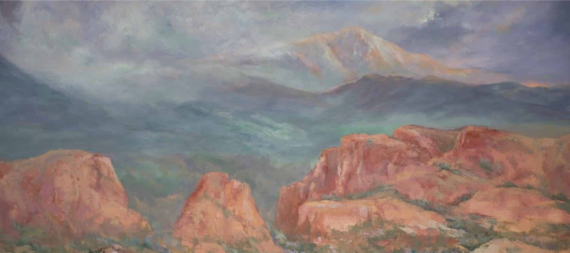 Painting of a mountain with snow in the background and large red rock formations in the foreground